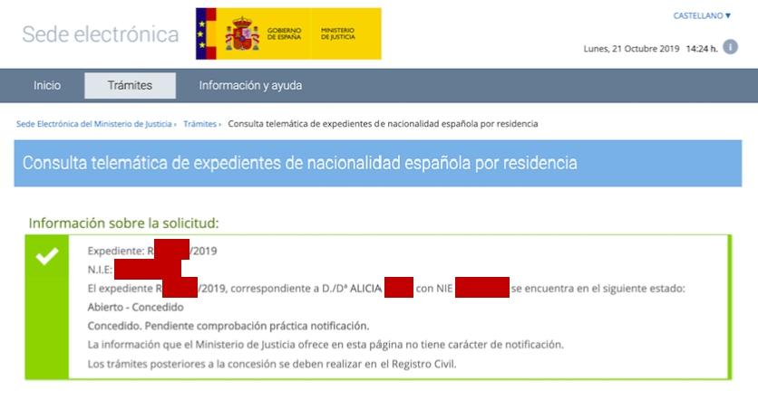 Resolución de Concesión de Nacionalidad Española de Alicia
