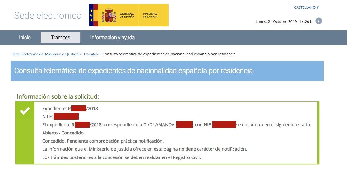 Resolución de Concesión de Nacionalidad Española de Amanda