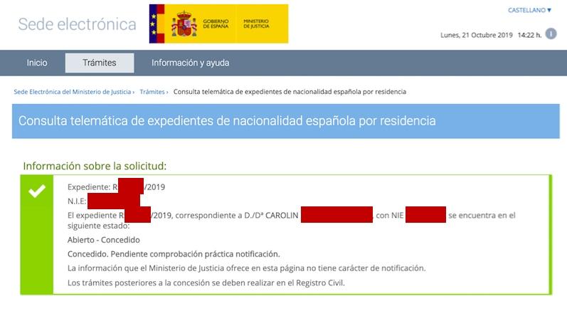 Resolución de Concesión de Nacionalidad Española de Carolin