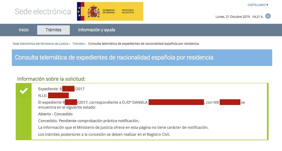 Resolución de Concesión de Nacionalidad Española de Daniela