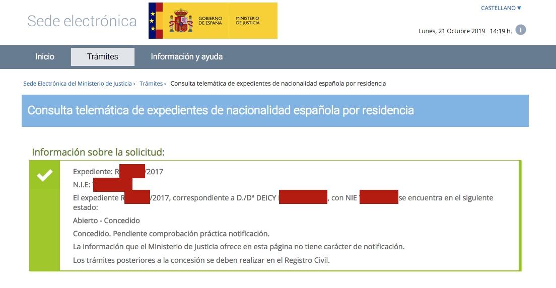 Resolución de Concesión de Nacionalidad Española de Deicy