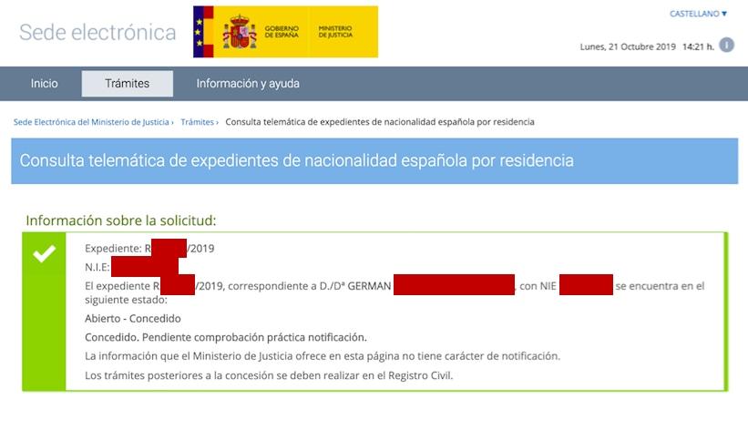 Resolución de Concesión de Nacionalidad Española de Germán