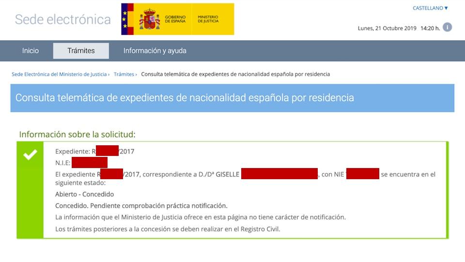 Resolución de Concesión de Nacionalidad Española de Giselle