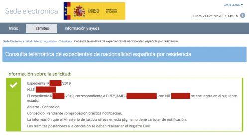 Resoluciones de Concesión de Nacionalidad Española: 21 Octubre 2019