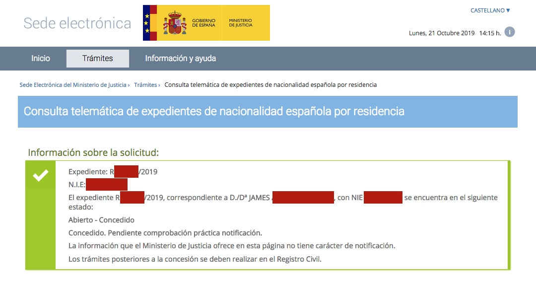 Resolución de Concesión de Nacionalidad Española de James