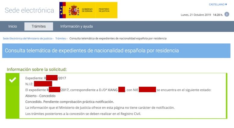 Resolución de Concesión de Nacionalidad Española de Xiang