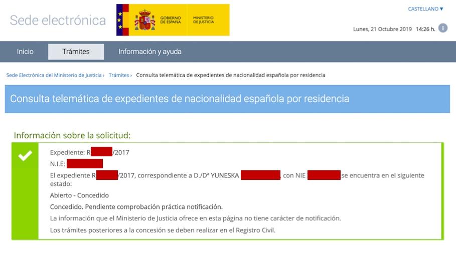 Resolución de Concesión de Nacionalidad Española de Yuneska