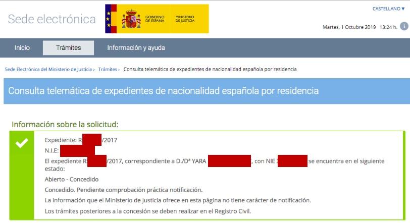 Resolución de Concesión de Nacionalidad Española de Yara
