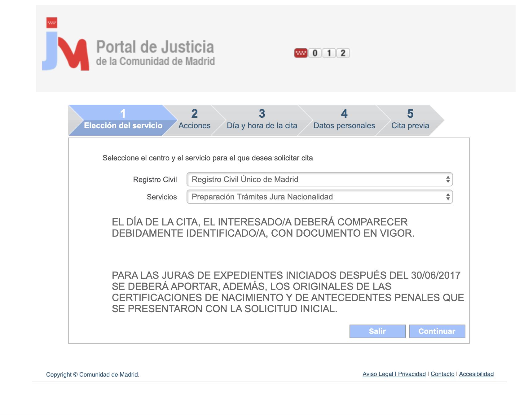 Cita previa Jura de nacionalidad española