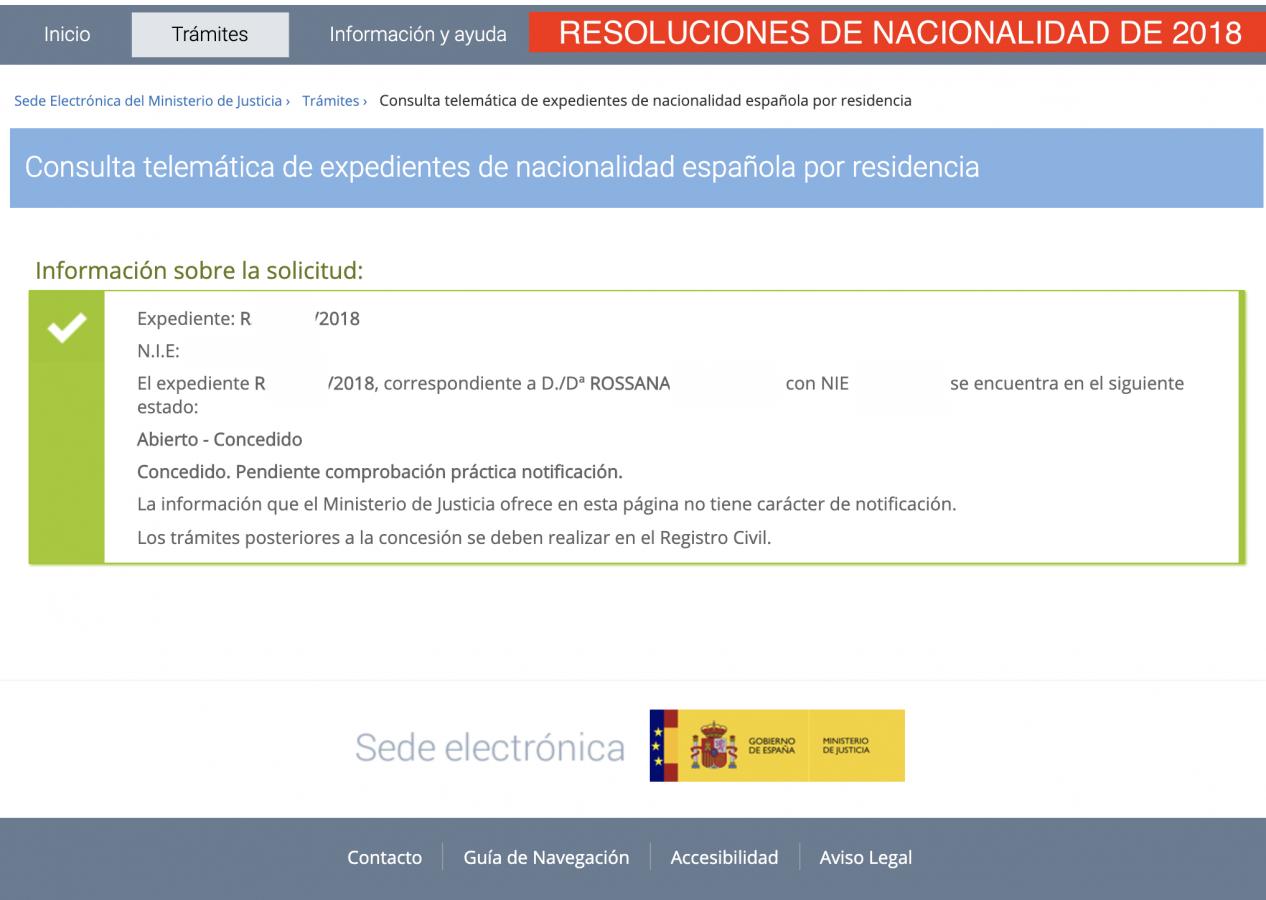 Resolución de nacionalidad  2018