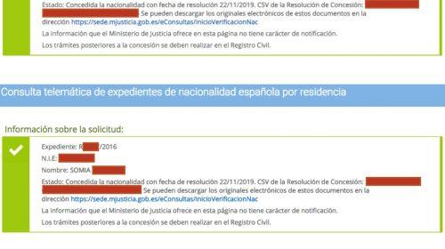 Resoluciones de Concesión de Nacionalidad Española: 22 Noviembre 2019