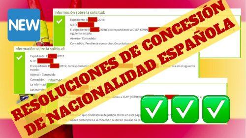 Resoluciones de Concesión de Nacionalidad Española: 12 Noviembre 2019