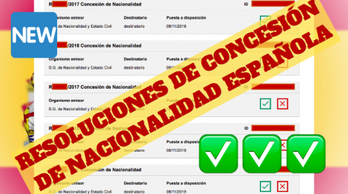 Resoluciones de Concesión de Nacionalidad Española: 8 Noviembre 2019