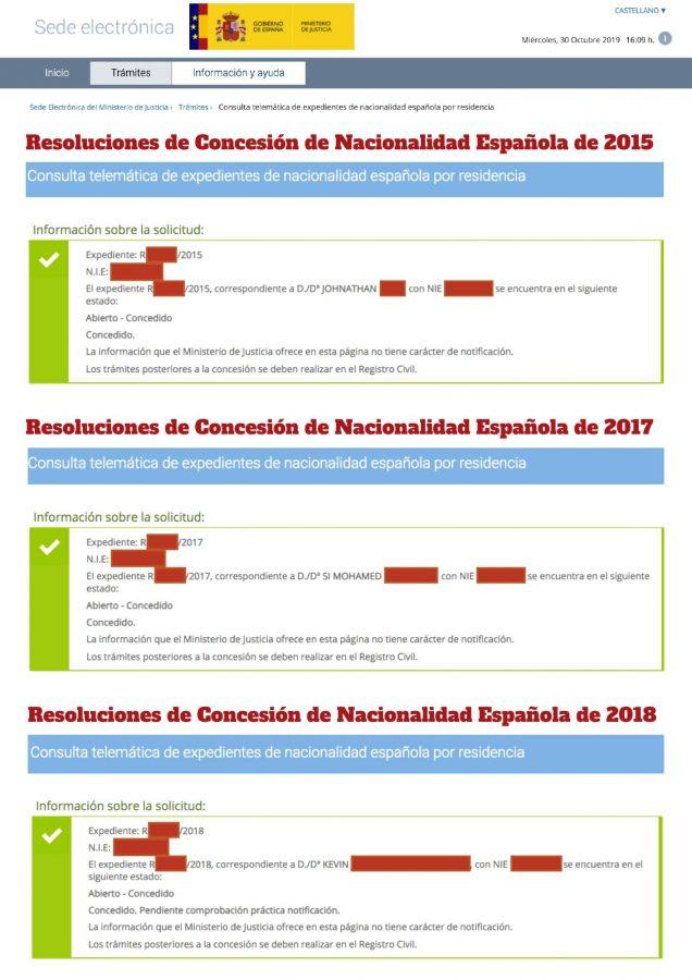 Resoluciones de Concesión de Nacionalidad Española 12 noviembre 2019