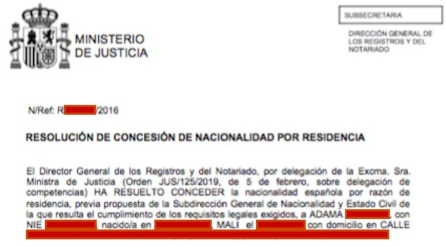 Resolución de Concesión de Nacionalidad Española de Adama