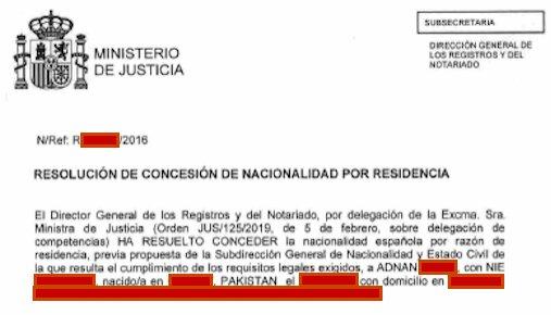 Resolución de Concesión de Nacionalidad Española de Adnan