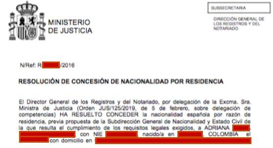Resolución de Concesión de Nacionalidad Española de Adriana