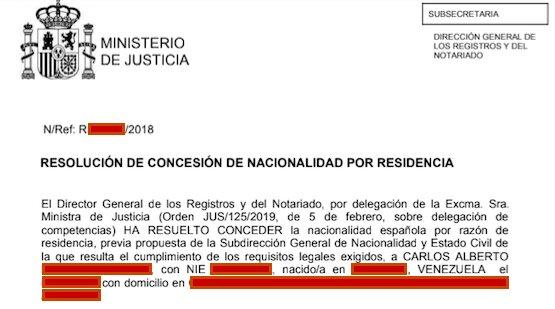 Resolución de Concesión de Nacionalidad Española de Carlos Alberto