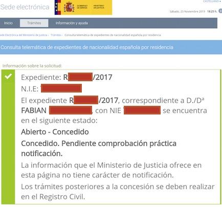 Resoluciones de Concesión de Nacionalidad Española de Fabian