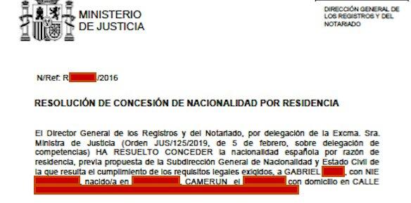 Resolución de Concesión de Nacionalidad Española de Gabriel