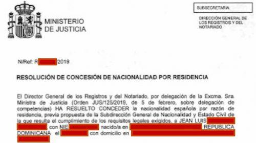 Resoluciones de Concesión de Nacionalidad Española: 26 Noviembre 2019