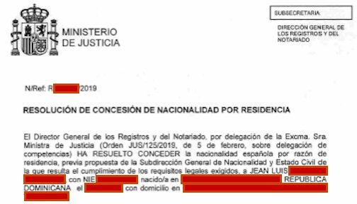 Resolución de Concesión de Nacionalidad Española de Jean Luis