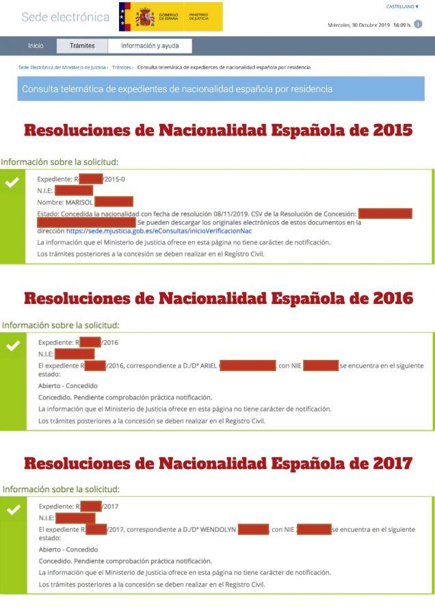Resoluciones de Concesión de Nacionalidad Española muestra