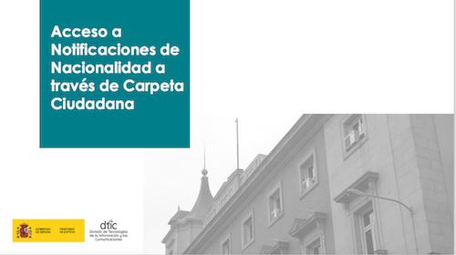 Notificaciones de Nacionalidad a través de Carpeta Ciudadana