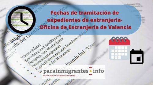 Fechas de tramitación expedientes extranjería- Noviembre 2019