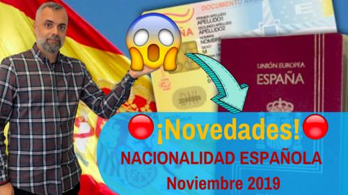 Novedades Nacionalidad Española- Noviembre 2019