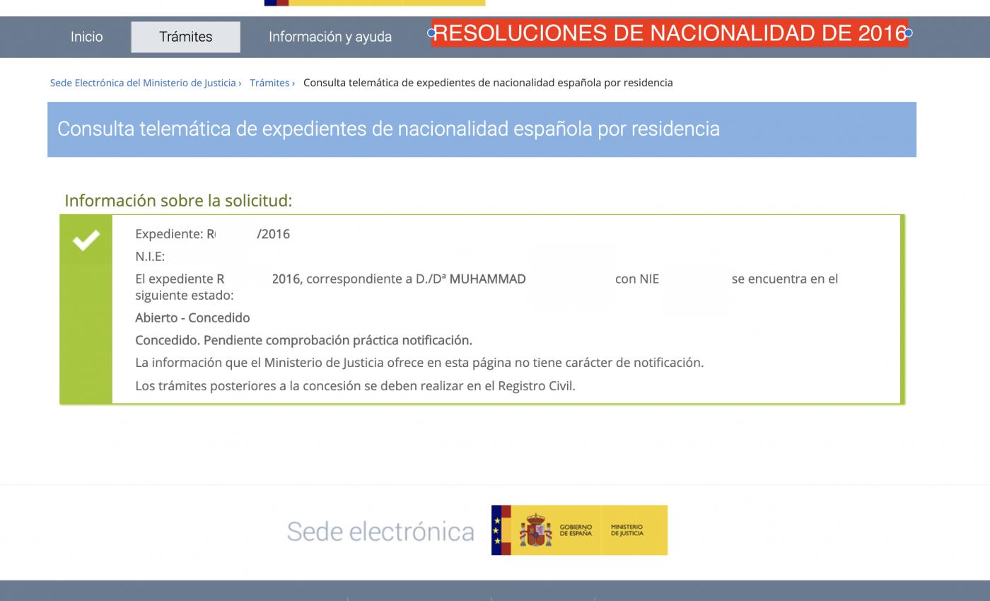 Resolución de nacionalidad  2016