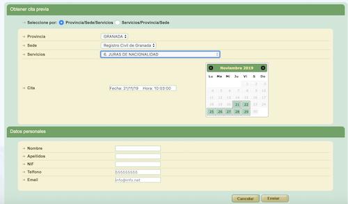 sistema de cita previa habilitado por el Registro Civil de Granada para la jura de nacionalidad española