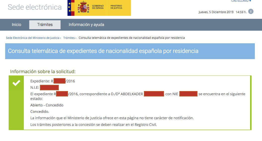 Resolución de Concesión de Nacionalidad Española de Abdelkader
