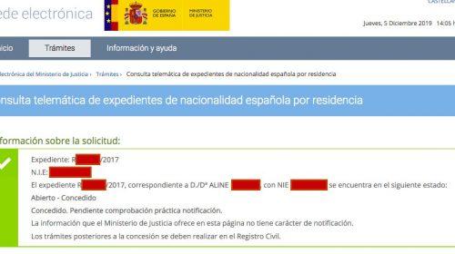 Resoluciones de Concesión de Nacionalidad Española: 5 Diciembre 2019