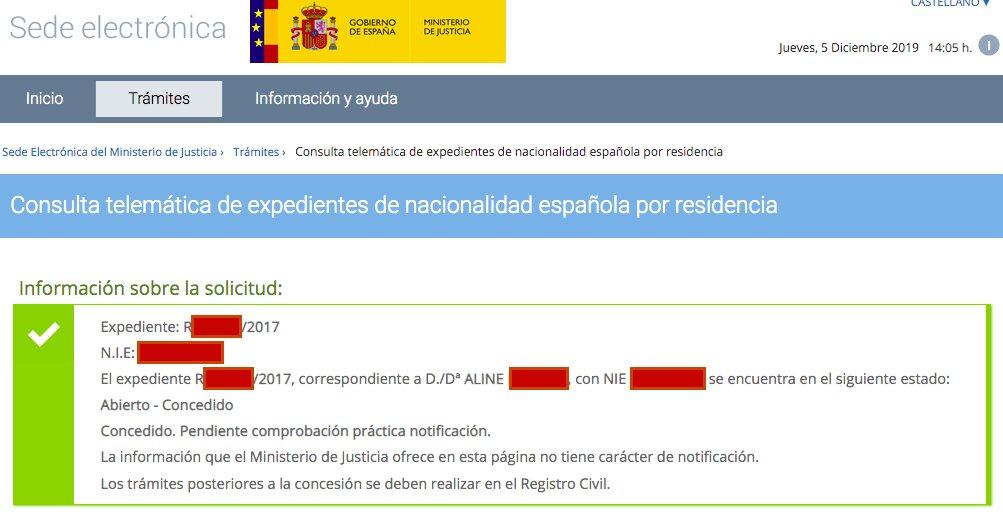 Resolución de Concesión de Nacionalidad Española de Aline