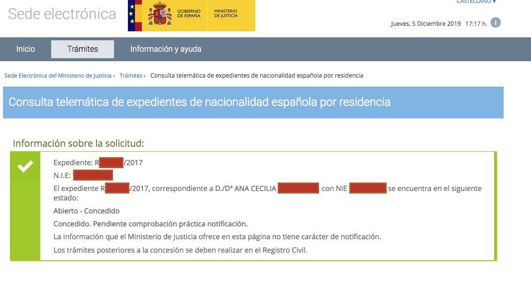 Resolución de Concesión de Nacionalidad Española de Ana Cecilia