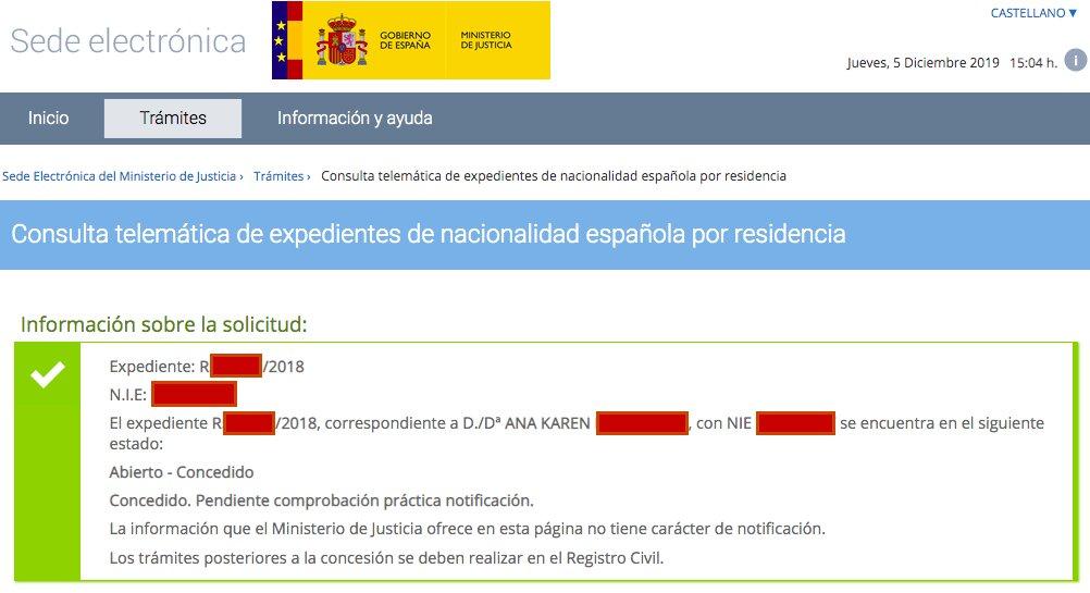 Resolución de Concesión de Nacionalidad Española de Ana Karen