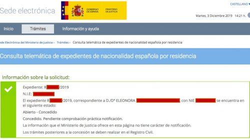 Resoluciones de Concesión de Nacionalidad Española: 3 Diciembre 2019