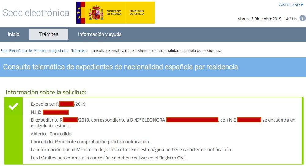Resolución de Concesión de Nacionalidad Española de Eleonora