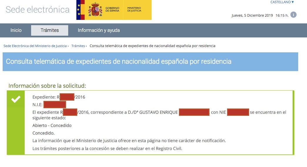 Resolución de Concesión de Nacionalidad Española de Gustavo Enrique