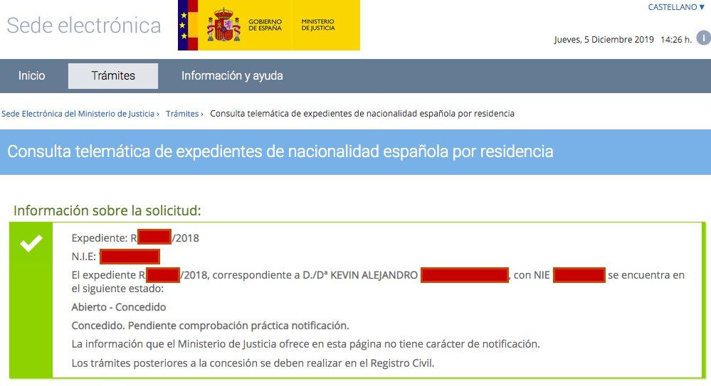 Resolución de Concesión de Nacionalidad Española de Kevin Alejandro
