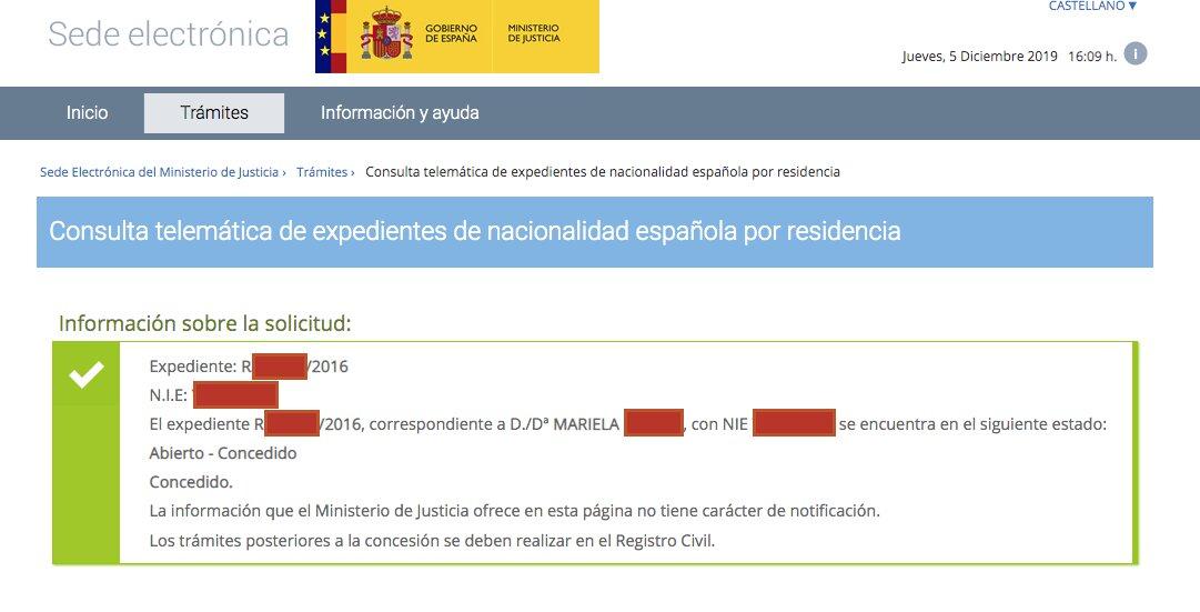 Resolución de Concesión de Nacionalidad Española de Mariela