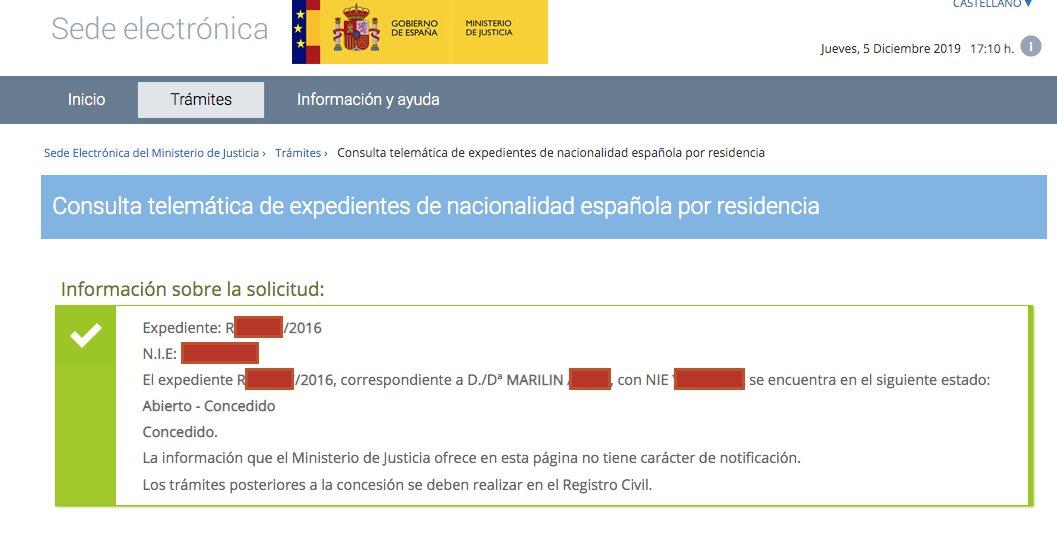Resolución de Concesión de Nacionalidad Española de Marilin