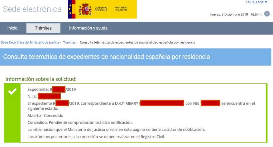 Resolución de Concesión de Nacionalidad Española de Merry