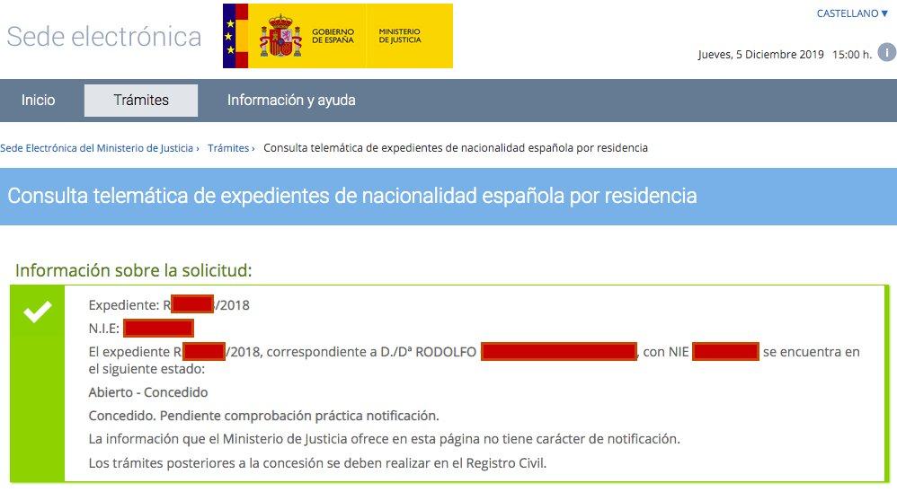 Resolución de Concesión de Nacionalidad Española de Rodolfo
