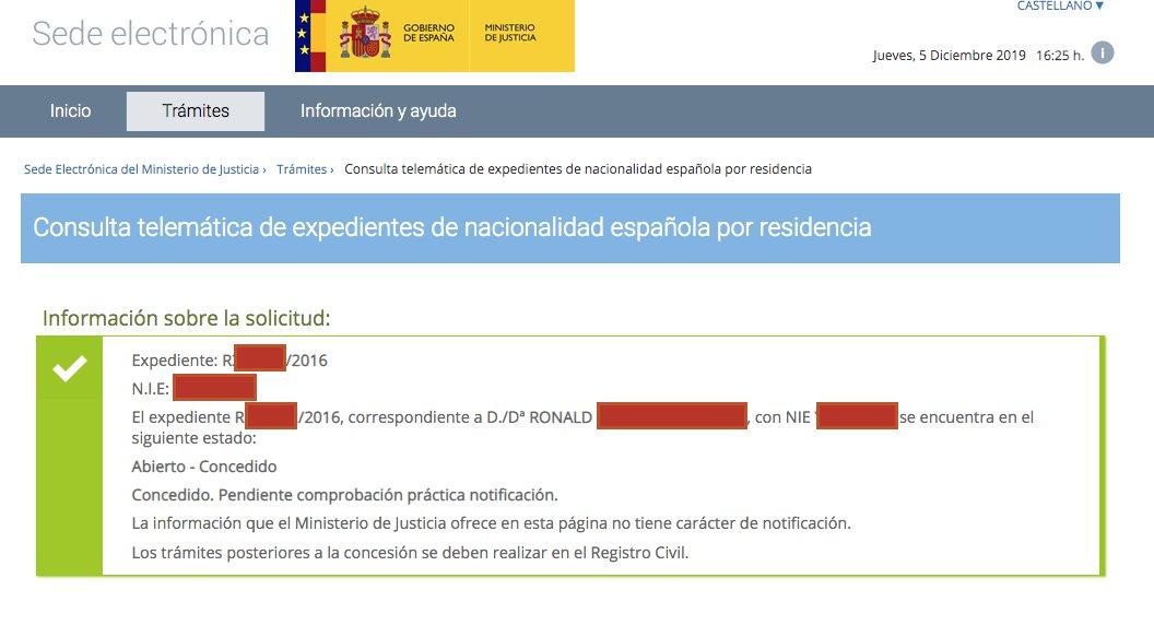 Resolución de Concesión de Nacionalidad Española de Ronald
