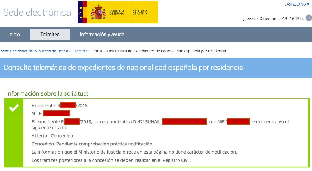 Resolución de Concesión de Nacionalidad Española de Suhail