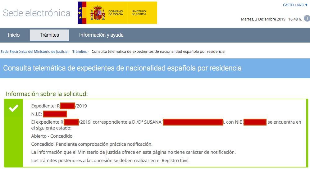 Resolución de Concesión de Nacionalidad Española de Susana