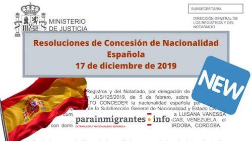 Resoluciones de Concesión de Nacionalidad Española: 17 diciembre 2019