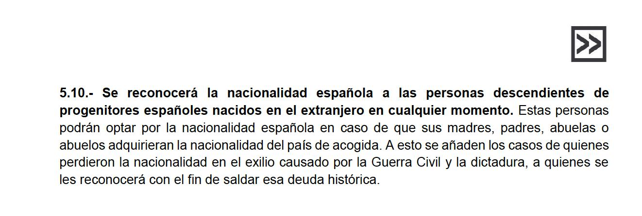 nacionalidad descendientes de españoles